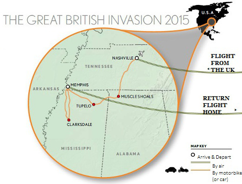 The Great British Invasion 2015 - charity ride through Tennessee, Alabama and Mississippi